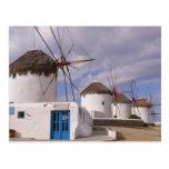 Los molinoes de viento de Mykonos en las islas Postal