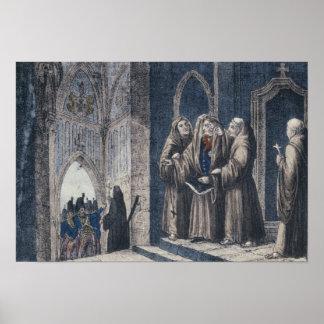 Los monjes que cubren al rey con cubren el convent póster