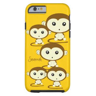 Los monos coloridos lindos cambian amarillo a funda de iPhone 6 tough
