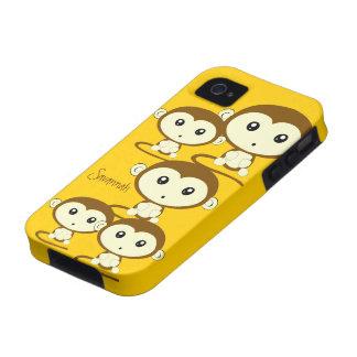Los monos coloridos lindos cambian amarillo a iPhone 4 funda