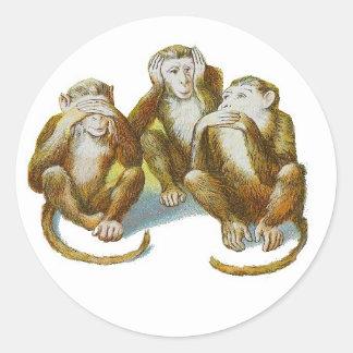 Los monos cómicos oyen See no hacer ningún mal Pegatina Redonda