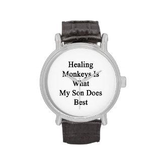 Los monos curativos son lo que hace mi hijo mejor reloj de mano