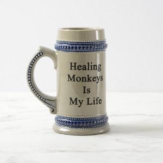 Los monos curativos son mi vida jarra de cerveza
