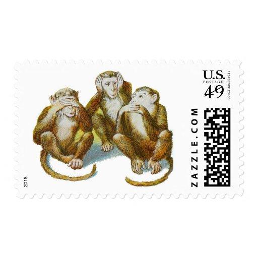 Los monos no ven ningún mal no oír ningún mal no sello