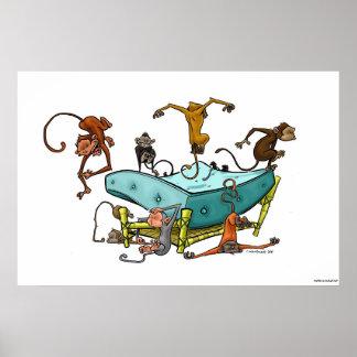 Los monos que saltan en la cama impresiones