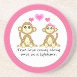 Los monos verdad amor posavasos de arenisca