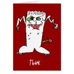 Los monstruos del dibujo animado le agradecen card felicitacion