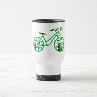 Los motoristas verdes del verde de la bici van Día Taza De Viaje