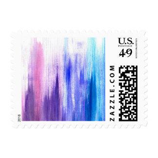 Los movimientos púrpuras rosados de la brocha sellos postales
