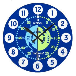 Los muchachos aprenden decir a tiempo el reloj de