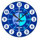 Los muchachos aprenden decir el reloj nombrado azu