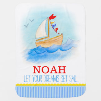 Los muchachos blancos azules del barco de vela nom mantita para bebé