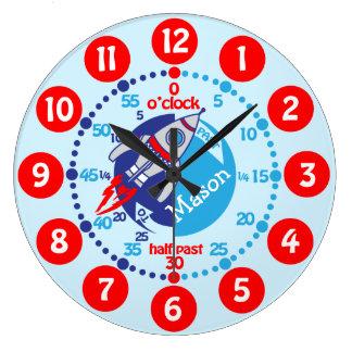 Los muchachos de los niños aprenden decir a tiempo relojes