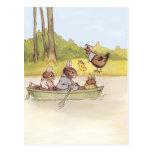 Los muchachos del conejito van canotaje tarjetas postales