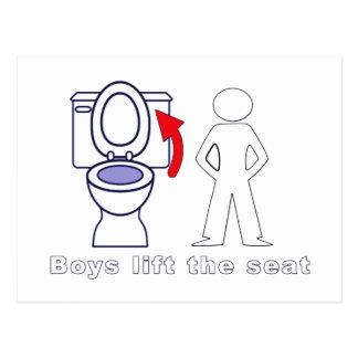 Los muchachos levantan Seat - entrenamiento/humor Postales