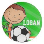 Los muchachos verdes conocidos de Logan del fútbol Plato De Comida