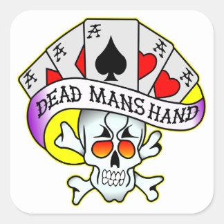 Los muertos sirven el tatuaje de la escuela vieja pegatina cuadrada