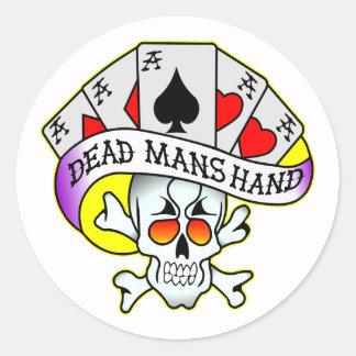 Los muertos sirven el tatuaje de la escuela vieja pegatina redonda