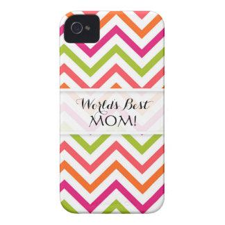 Los mundos la mejor mamá, Chevron rayan Brights de iPhone 4 Case-Mate Cobertura