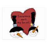 Los muñecos de nieve derriten mis camisetas y postal