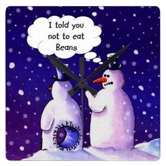 Los muñecos de nieve no comen habas reloj cuadrado