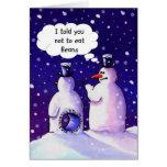 Los muñecos de nieve no comen habas tarjeta de felicitación