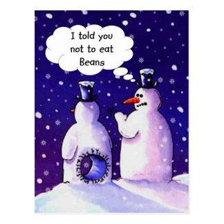 Los muñecos de nieve no comen habas tarjetas postales