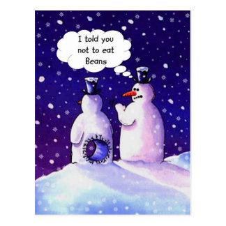 ¡Los muñecos de nieve, no comen habas!!!! Tarjeta Postal