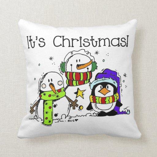 Los muñecos de nieve y los pingüinos es navidad cojín