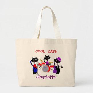 Los músicos divertidos del gato del dibujo animado bolsa tela grande