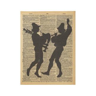 Los músicos siluetean en la página del diccionario póster de madera