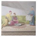 Los musulmanes que realizan sus abluciones, platea azulejo ceramica