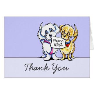 Los Mutts lindos del rescate del perro le agradece Tarjeton
