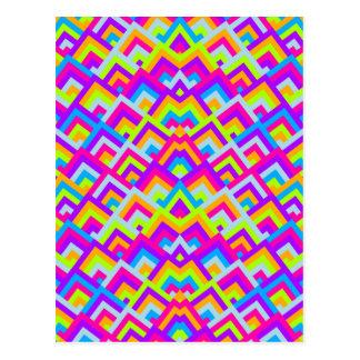 Los neónes brillantes zigzaguean modelo simétrico postales