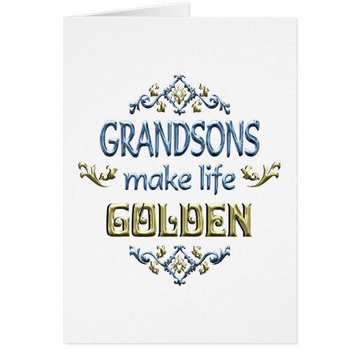 Los nietos hacen vida de oro tarjeta de felicitación