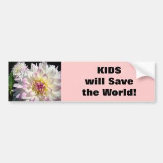 ¡Los NIÑOS ahorrarán el mundo dalia de la pegatin Etiqueta De Parachoque