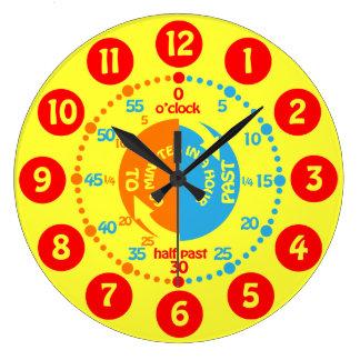 Los niños aprenden decir a tiempo el reloj de pare