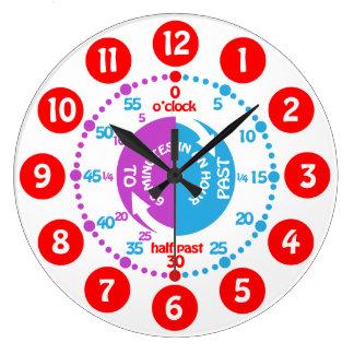 Los niños aprenden decir a tiempo el reloj púrpura