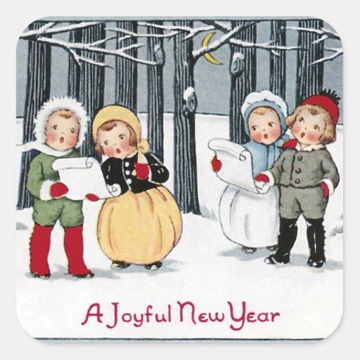 Los niños cantan en el Año Nuevo Pegatina Cuadrada