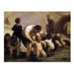 Los niños con el baño de Honore Daumier Postales