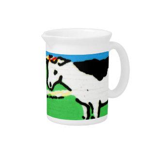 Los niños de las vacas del vintage que deletrean e jarrones