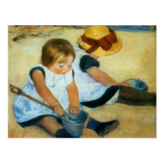 Los niños de Mary Cassatt en la playa (1884) Postales