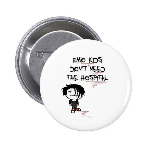 los niños del emo no necesitan el hospital pin redondo 5 cm