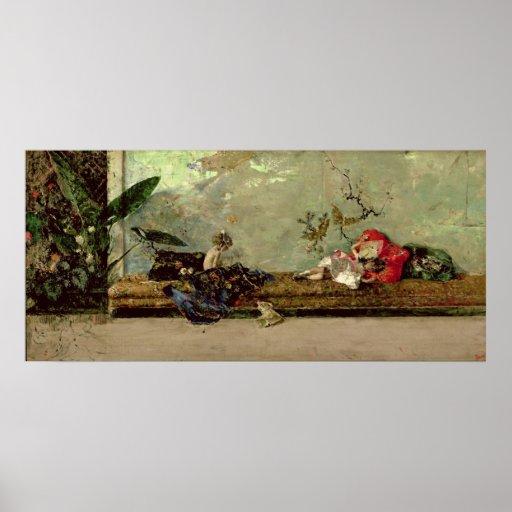 Los niños del pintor en el salón japonés impresiones