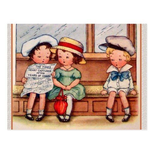 Los niños del vintage con los corazones capturaron postal
