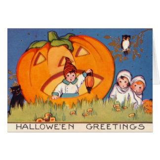 Los niños Halloween, calabaza grande, vieja moda, Tarjeta De Felicitación