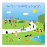 Los niños lindos en el parque van de fiesta la invitación 13,3 cm x 13,3cm
