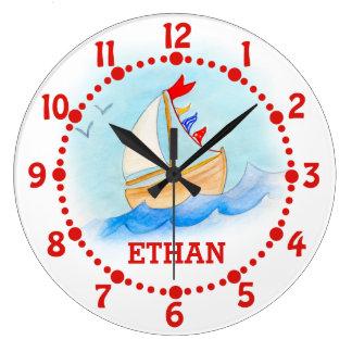 Los niños nombran arte del barco de navegación rel reloj de pared