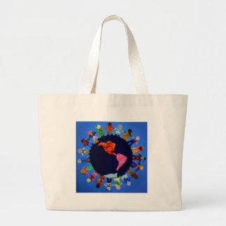 Los niños pacíficos en todo el mundo empaquetan bolsa tela grande