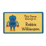 Los niños personalizaron al pegatina azul del etiquetas de envío